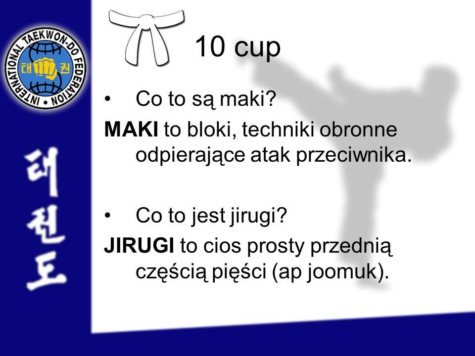 10 cup Co to są maki? MAKI to bloki, techniki obronne odpierające atak przeciwnika. Co to jest jirugi? JIRUGI to cios prosty przednią częścią pięści (
