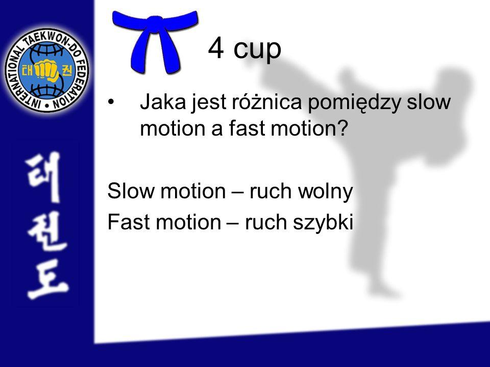 4 cup Jaka jest różnica pomiędzy slow motion a fast motion? Slow motion – ruch wolny Fast motion – ruch szybki
