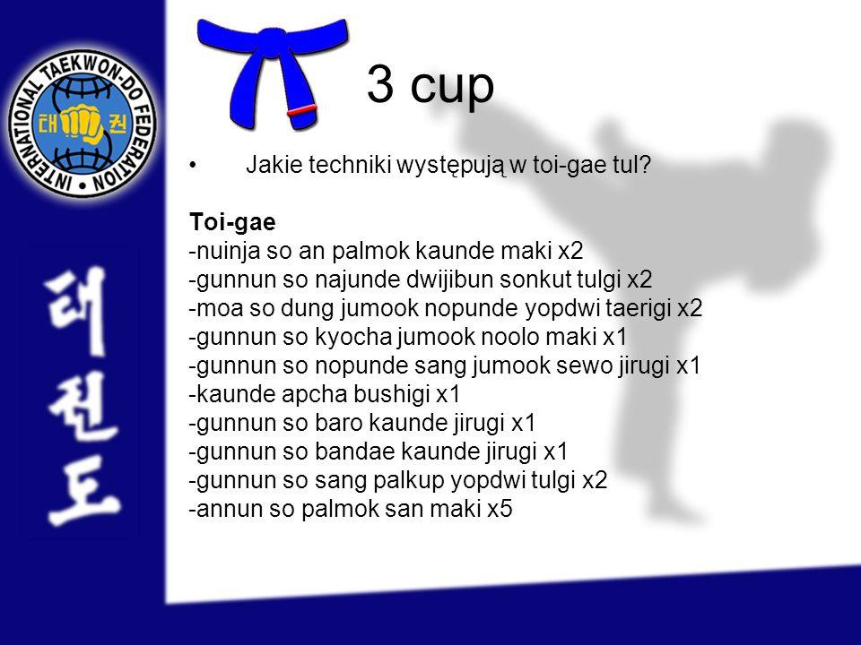3 cup Jakie techniki występują w toi-gae tul? Toi-gae -nuinja so an palmok kaunde maki x2 -gunnun so najunde dwijibun sonkut tulgi x2 -moa so dung jum