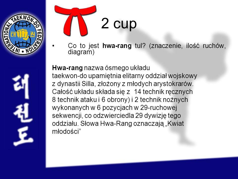 2 cup Co to jest hwa-rang tul? (znaczenie, ilość ruchów, diagram) Hwa-rang nazwa ósmego układu taekwon-do upamiętnia elitarny oddział wojskowy z dynas