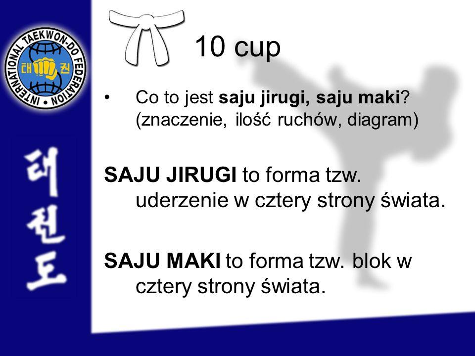 10 cup Co to jest saju jirugi, saju maki? (znaczenie, ilość ruchów, diagram) SAJU JIRUGI to forma tzw. uderzenie w cztery strony świata. SAJU MAKI to