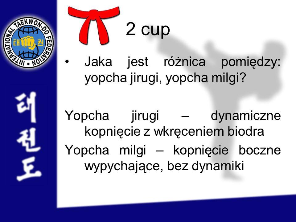 2 cup Jaka jest różnica pomiędzy: yopcha jirugi, yopcha milgi? Yopcha jirugi – dynamiczne kopnięcie z wkręceniem biodra Yopcha milgi – kopnięcie boczn