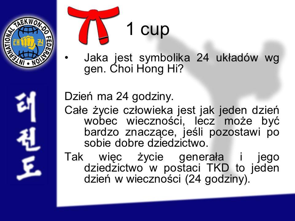 1 cup Jaka jest symbolika 24 układów wg gen. Choi Hong Hi? Dzień ma 24 godziny. Całe życie człowieka jest jak jeden dzień wobec wieczności, lecz może