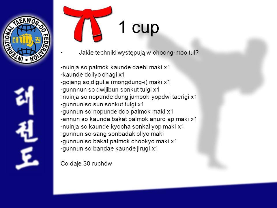 1 cup Jakie techniki występują w choong-moo tul? -nuinja so palmok kaunde daebi maki x1 -kaunde dollyo chagi x1 -gojang so digutja (mongdung-i) maki x