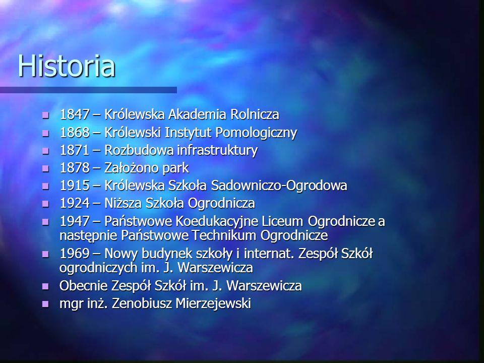 Historia 1847 – Królewska Akademia Rolnicza 1847 – Królewska Akademia Rolnicza 1868 – Królewski Instytut Pomologiczny 1868 – Królewski Instytut Pomolo