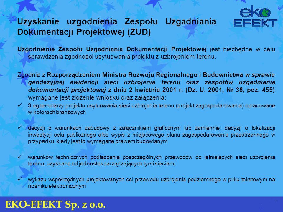 Uzyskanie uzgodnienia Zespołu Uzgadniania Dokumentacji Projektowej (ZUD) Uzgodnienie Zespołu Uzgadniania Dokumentacji Projektowej jest niezbędne w cel