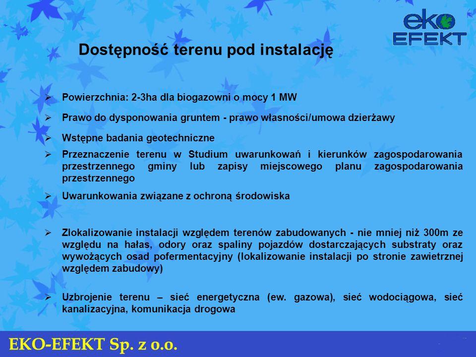 Dostępność terenu pod instalację Powierzchnia: 2-3ha dla biogazowni o mocy 1 MW Prawo do dysponowania gruntem - prawo własności/umowa dzierżawy Wstępn
