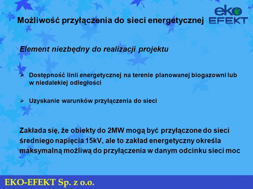 Możliwość przyłączenia do sieci energetycznej Element niezbędny do realizacji projektu Dostępność linii energetycznej na terenie planowanej biogazowni