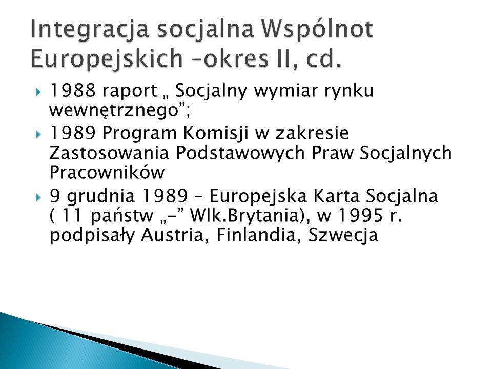 1988 raport Socjalny wymiar rynku wewnętrznego; 1989 Program Komisji w zakresie Zastosowania Podstawowych Praw Socjalnych Pracowników 9 grudnia 1989 –