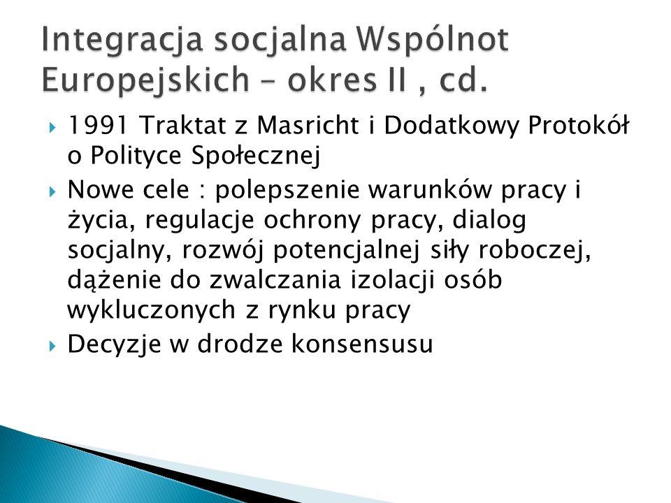 1991 Traktat z Masricht i Dodatkowy Protokół o Polityce Społecznej Nowe cele : polepszenie warunków pracy i życia, regulacje ochrony pracy, dialog soc