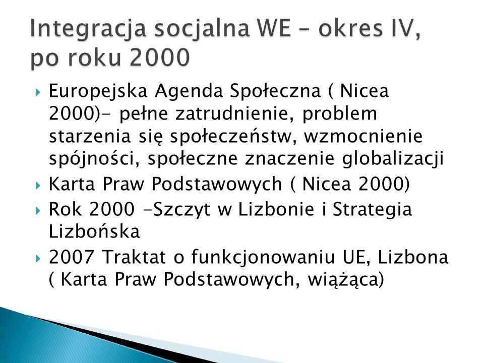 Europejska Agenda Społeczna ( Nicea 2000)- pełne zatrudnienie, problem starzenia się społeczeństw, wzmocnienie spójności, społeczne znaczenie globaliz