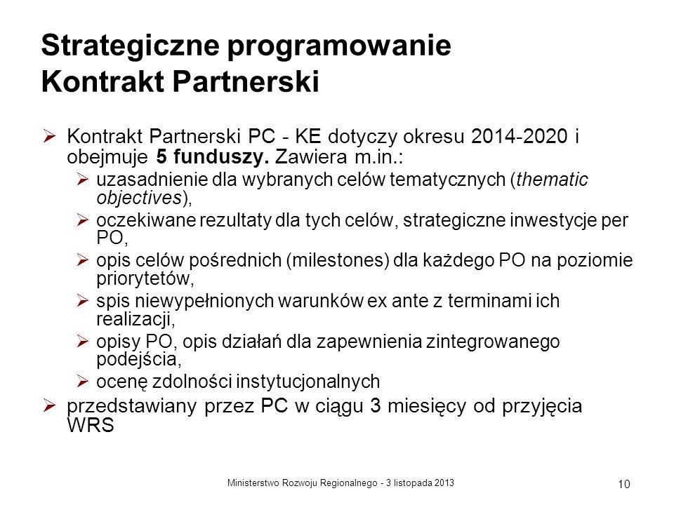 3 listopada 2013Ministerstwo Rozwoju Regionalnego - 10 Strategiczne programowanie Kontrakt Partnerski Kontrakt Partnerski PC - KE dotyczy okresu 2014-