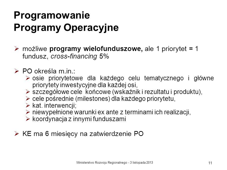 3 listopada 2013Ministerstwo Rozwoju Regionalnego - 11 Programowanie Programy Operacyjne możliwe programy wielofunduszowe, ale 1 priorytet = 1 fundusz