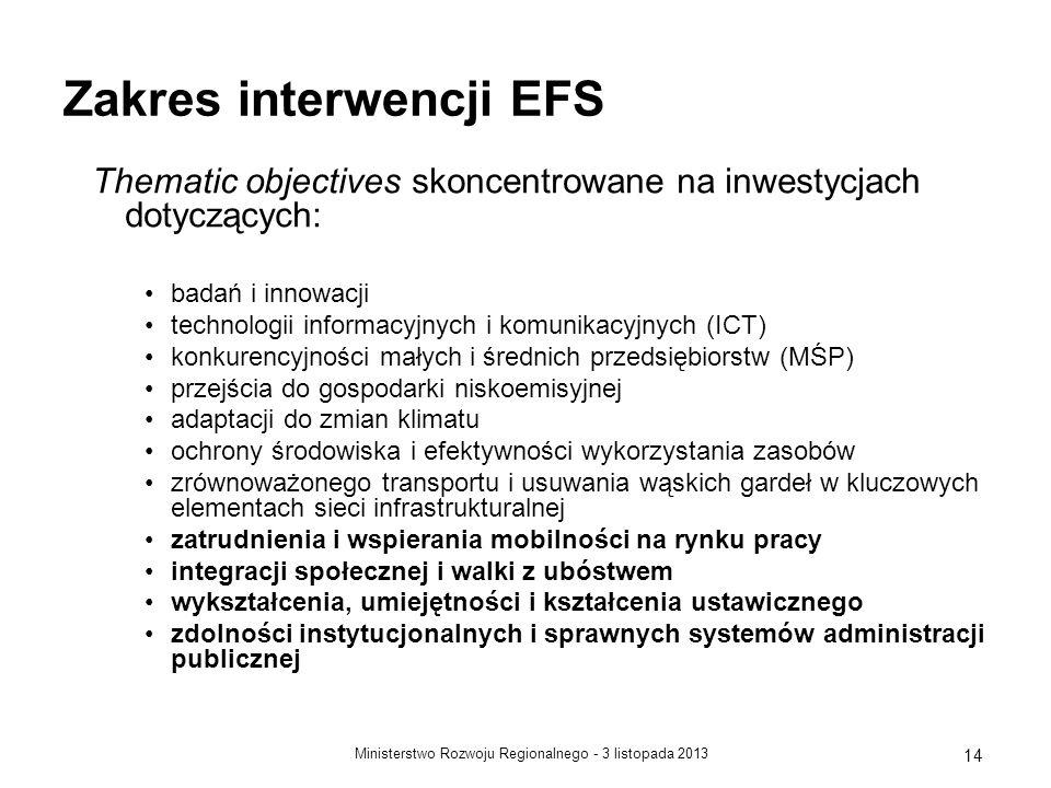 3 listopada 2013Ministerstwo Rozwoju Regionalnego - 14 Zakres interwencji EFS Thematic objectives skoncentrowane na inwestycjach dotyczących: badań i