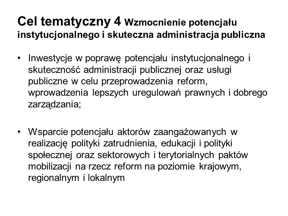 Cel tematyczny 4 Wzmocnienie potencjału instytucjonalnego i skuteczna administracja publiczna Inwestycje w poprawę potencjału instytucjonalnego i skut