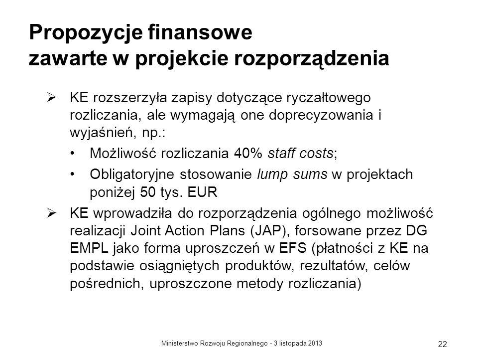 3 listopada 2013Ministerstwo Rozwoju Regionalnego - 22 Propozycje finansowe zawarte w projekcie rozporządzenia KE rozszerzyła zapisy dotyczące ryczałt