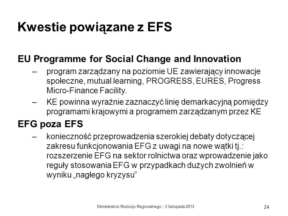3 listopada 2013Ministerstwo Rozwoju Regionalnego - 24 Kwestie powiązane z EFS EU Programme for Social Change and Innovation –program zarządzany na po