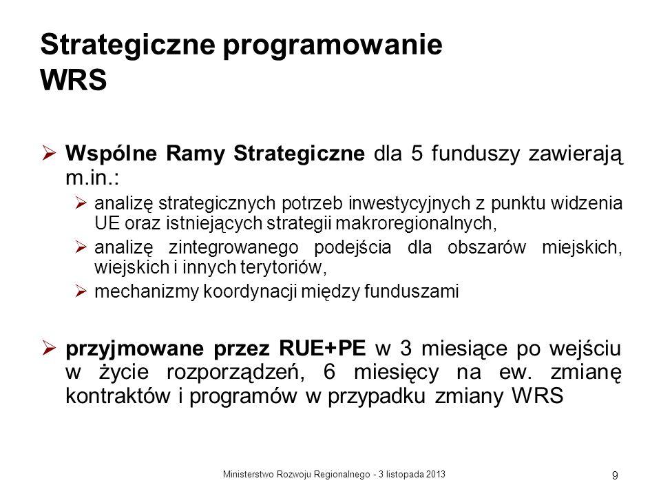 3 listopada 2013Ministerstwo Rozwoju Regionalnego - 9 Strategiczne programowanie WRS Wspólne Ramy Strategiczne dla 5 funduszy zawierają m.in.: analizę