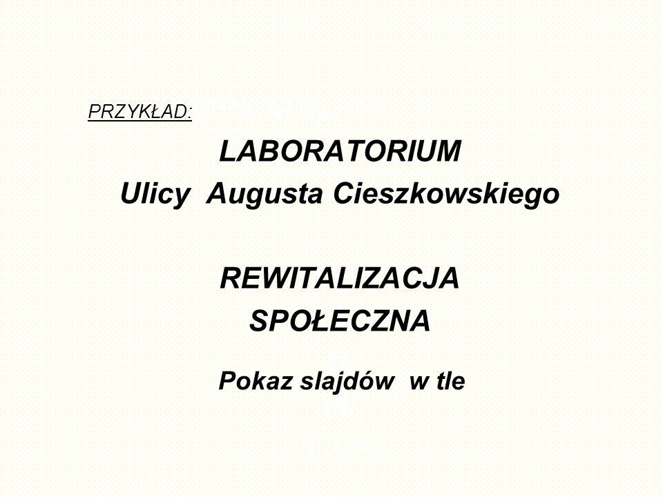 Pokaz slajdów w tle PRZYKŁAD: ORIUM ULICY LABORATORIUM Ulicy Augusta Cieszkowskiego REWITALIZACJA SPOŁECZNA Ui iik LICY