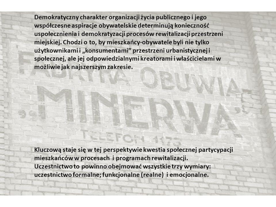 Demokratyczny charakter organizacji życia publicznego i jego współczesne aspiracje obywatelskie determinują konieczność uspołecznienia i demokratyzacji procesów rewitalizacji przestrzeni miejskiej.