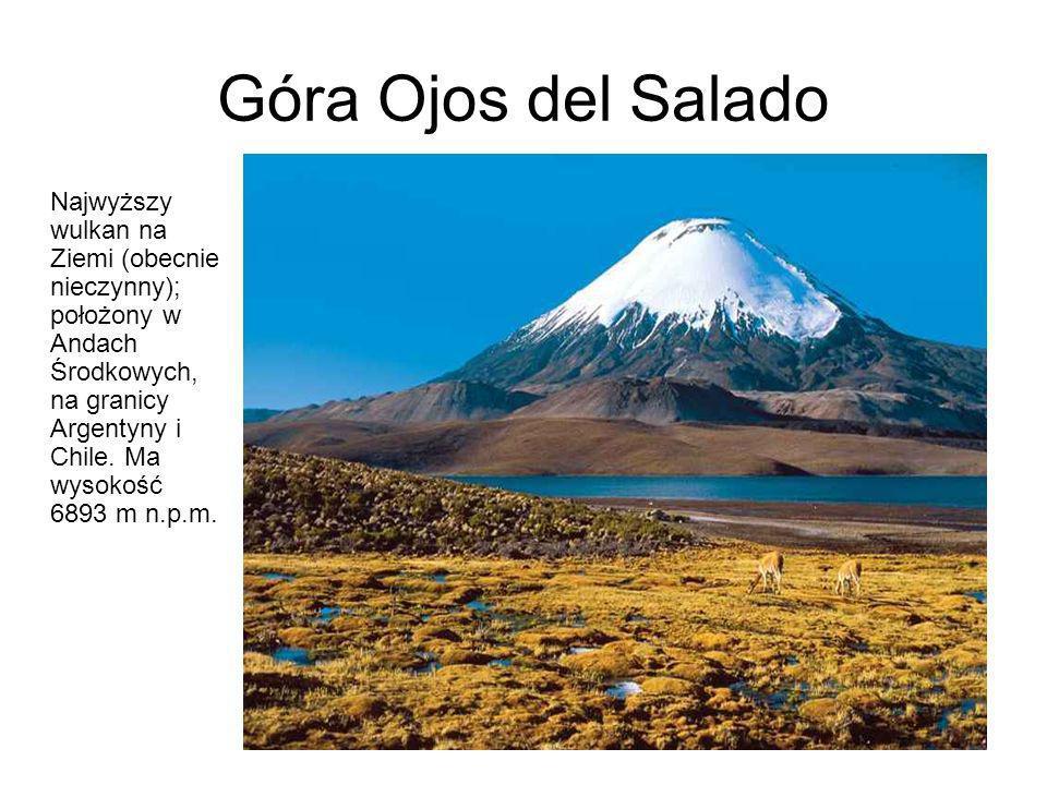 Góra Ojos del Salado Najwyższy wulkan na Ziemi (obecnie nieczynny); położony w Andach Środkowych, na granicy Argentyny i Chile. Ma wysokość 6893 m n.p
