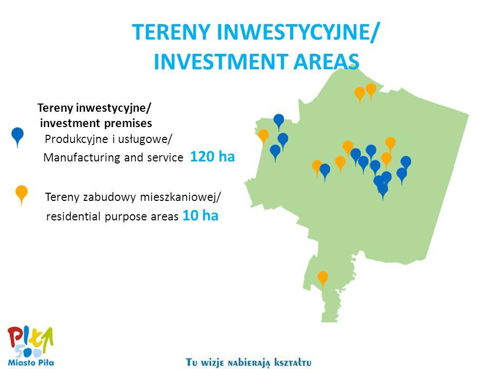 Tereny inwestycyjne/ investment premises Produkcyjne i usługowe/ Manufacturing and service 120 ha Tereny zabudowy mieszkaniowej/ residential purpose a