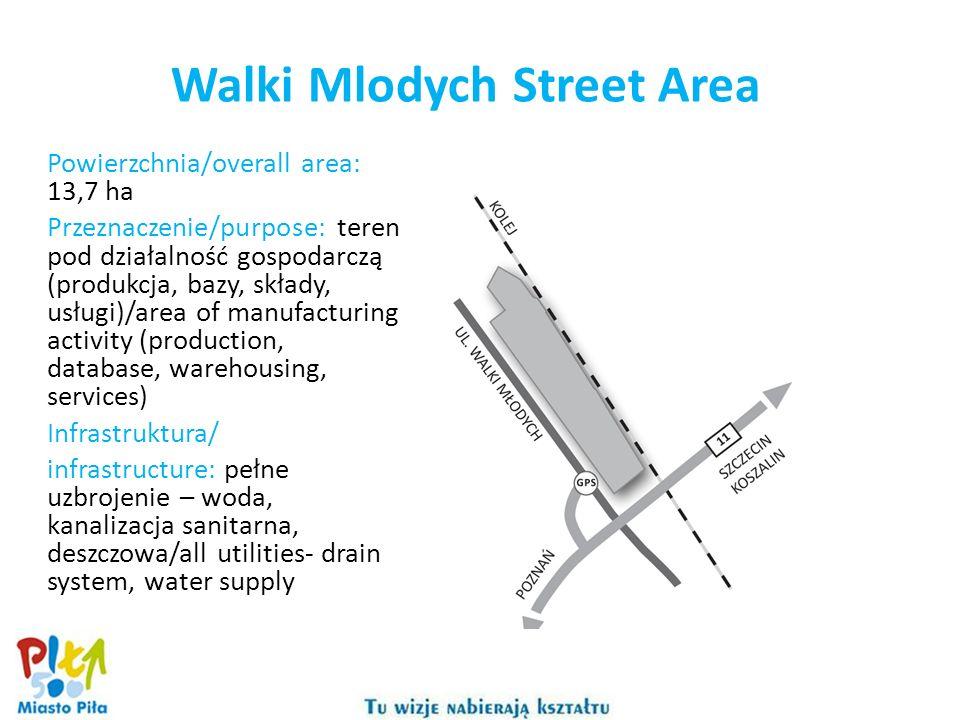 Walki Mlodych Street Area Powierzchnia/overall area: 13,7 ha Przeznaczenie/purpose: teren pod działalność gospodarczą (produkcja, bazy, składy, usługi)/area of manufacturing activity (production, database, warehousing, services) Infrastruktura/ infrastructure: pełne uzbrojenie – woda, kanalizacja sanitarna, deszczowa/all utilities- drain system, water supply