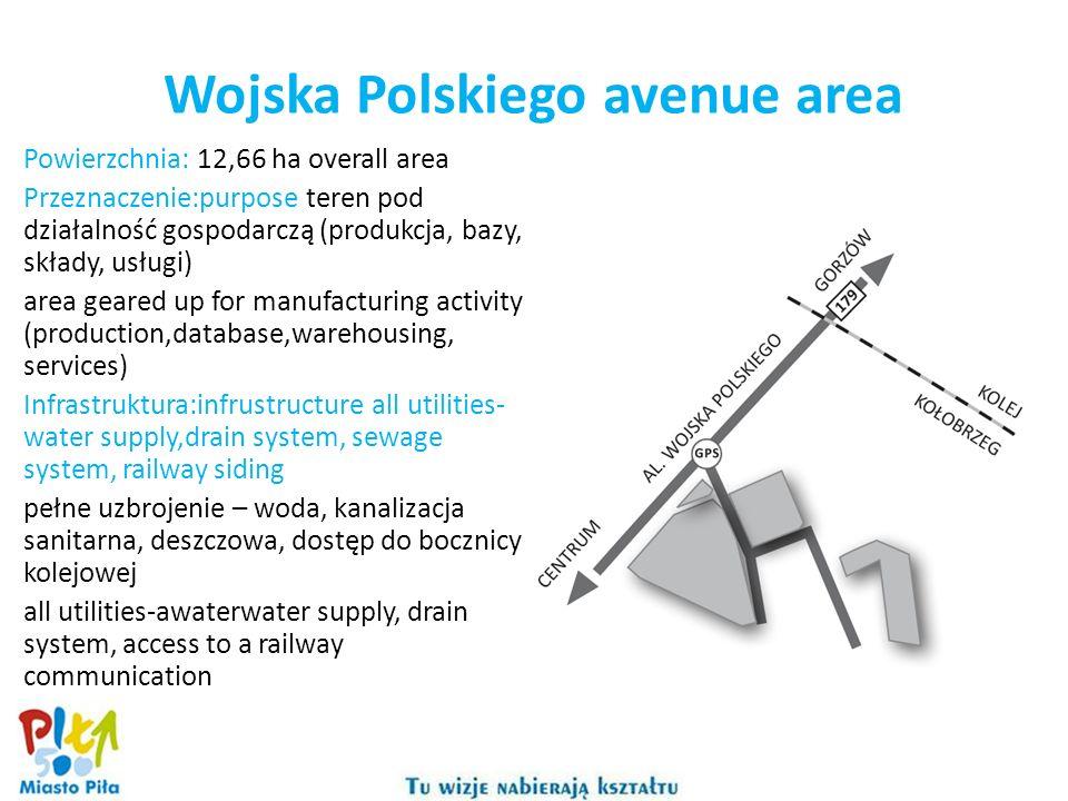 Wojska Polskiego avenue area Powierzchnia: 12,66 ha overall area Przeznaczenie:purpose teren pod działalność gospodarczą (produkcja, bazy, składy, usł