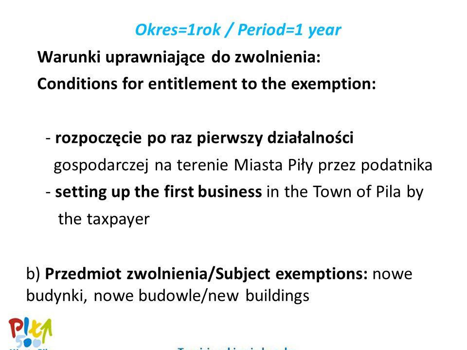 Okres=1rok / Period=1 year Warunki uprawniające do zwolnienia: Conditions for entitlement to the exemption: - rozpoczęcie po raz pierwszy działalności