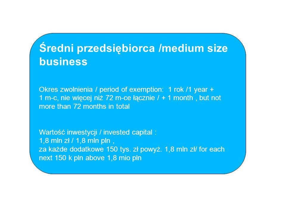 Średni przedsiębiorca /medium size business Okres zwolnienia / period of exemption: 1 rok /1 year + 1 m-c, nie więcej niż 72 m-ce łącznie / + 1 month, but not more than 72 months in total Wartość inwestycji / invested capital : 1,8 mln zł / 1,8 mln pln, za każde dodatkowe 150 tys.