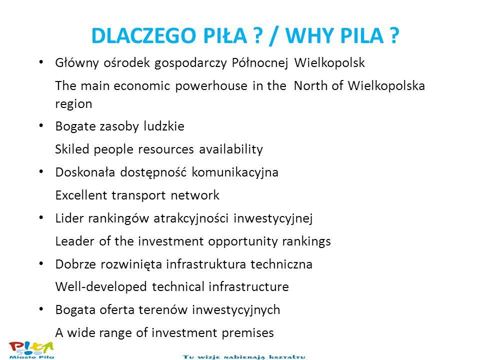 DLACZEGO PIŁA ? / WHY PILA ? Główny ośrodek gospodarczy Północnej Wielkopolsk The main economic powerhouse in the North of Wielkopolska region Bogate