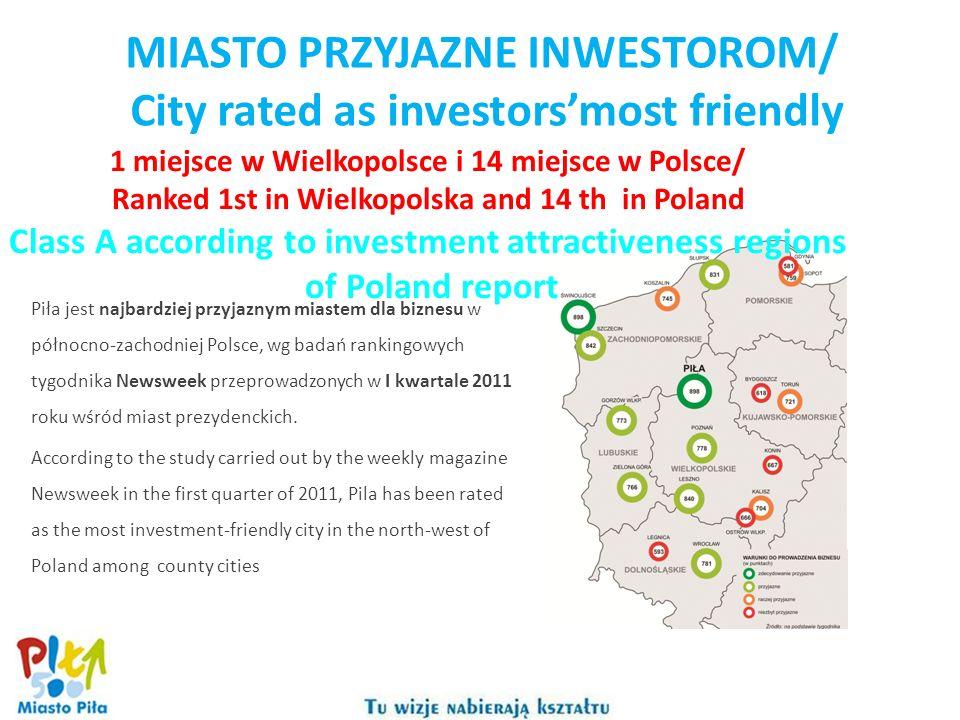 MIASTO PRZYJAZNE INWESTOROM/ City rated as investorsmost friendly Piła jest najbardziej przyjaznym miastem dla biznesu w północno-zachodniej Polsce, w