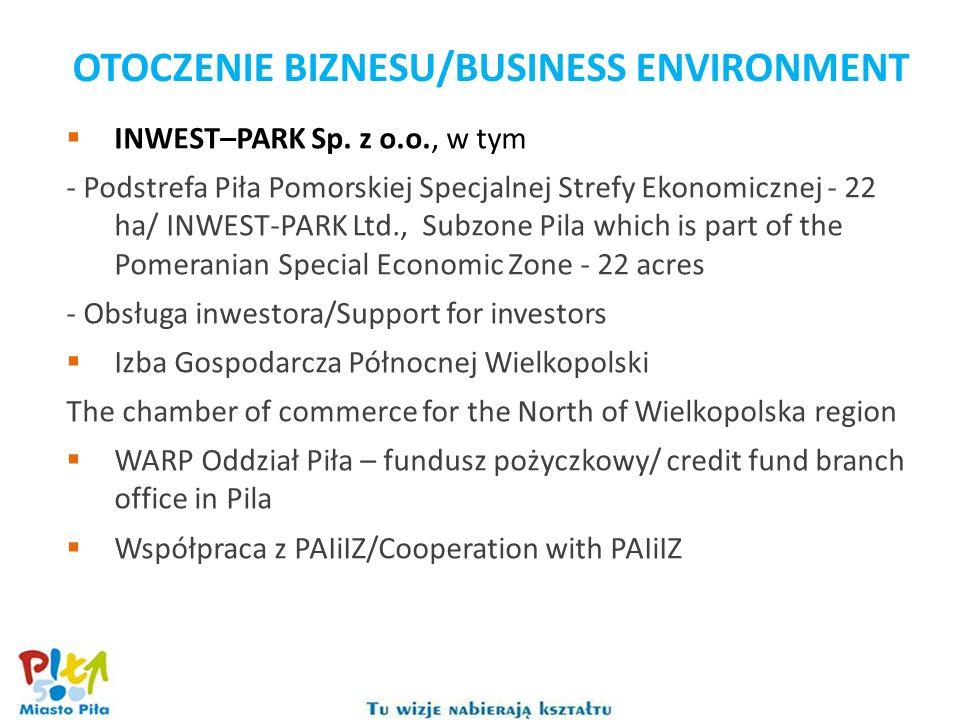 INWEST–PARK Sp. z o.o., w tym - Podstrefa Piła Pomorskiej Specjalnej Strefy Ekonomicznej - 22 ha/ INWEST-PARK Ltd., Subzone Pila which is part of the