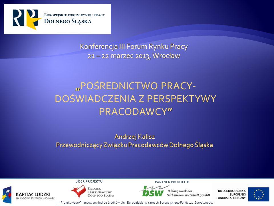 LIDER PROJEKTU: PARTNER PROJEKTU: Andrzej Kalisz Przewodniczący Związku Pracodawców Dolnego Śląska Konferencja III Forum Rynku Pracy 21 – 22 marzec 20