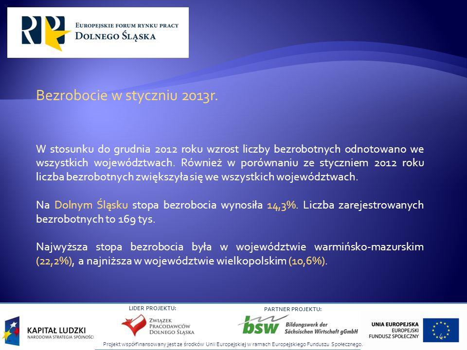 Projekt współfinansowany jest ze środków Unii Europejskiej w ramach Europejskiego Funduszu Społecznego. LIDER PROJEKTU: PARTNER PROJEKTU: Bezrobocie w