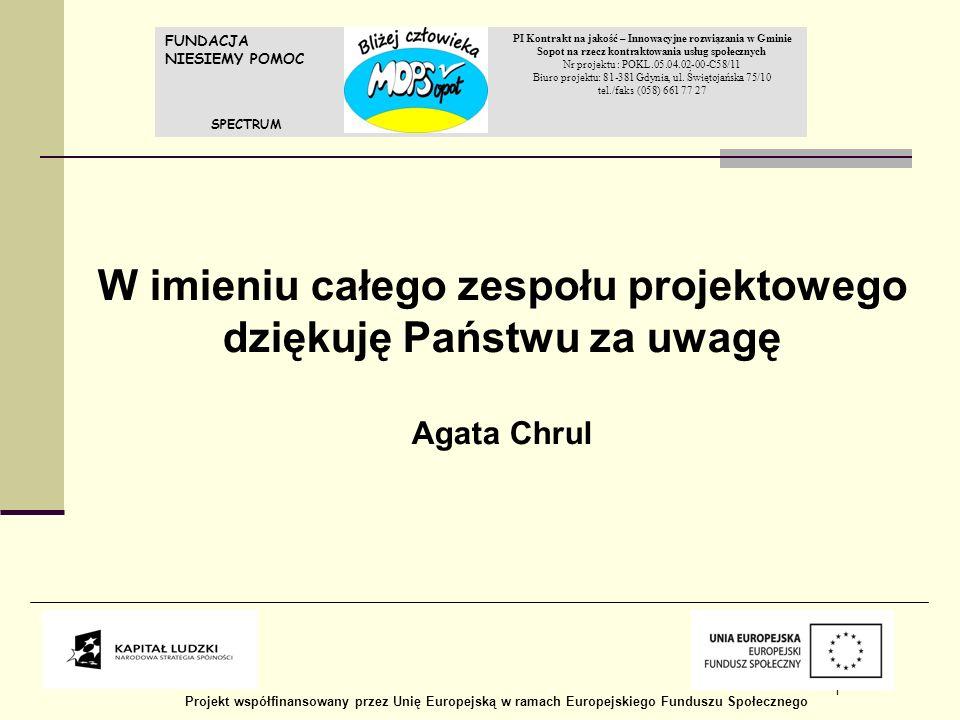 REALIZACJA PLANU WSPARCIA NA RZECZ EKONOMII SPOŁECZNEJ W WOJEWÓDZTWIE POMORSKIM W ROKU 2012 1 FUNDACJA NIESIEMY POMOC PI Kontrakt na jakość – Innowacy