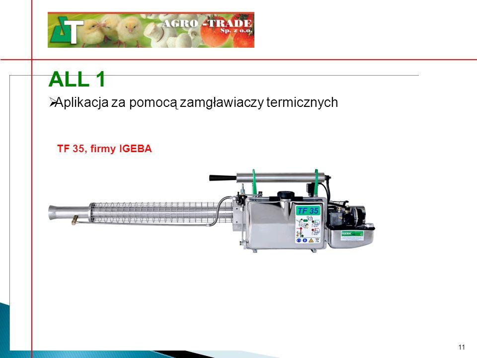 11 Aplikacja za pomocą zamgławiaczy termicznych ALL 1 TF 35, firmy IGEBA