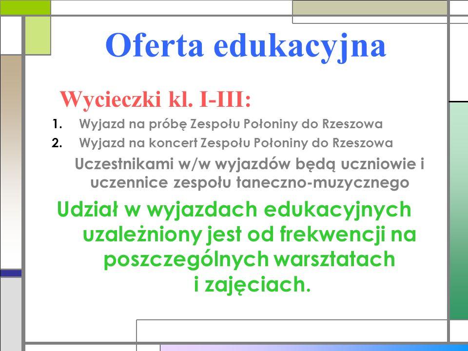 Oferta edukacyjna Wycieczki kl. I-III: 1.Wyjazd na próbę Zespołu Połoniny do Rzeszowa 2.Wyjazd na koncert Zespołu Połoniny do Rzeszowa Uczestnikami w/
