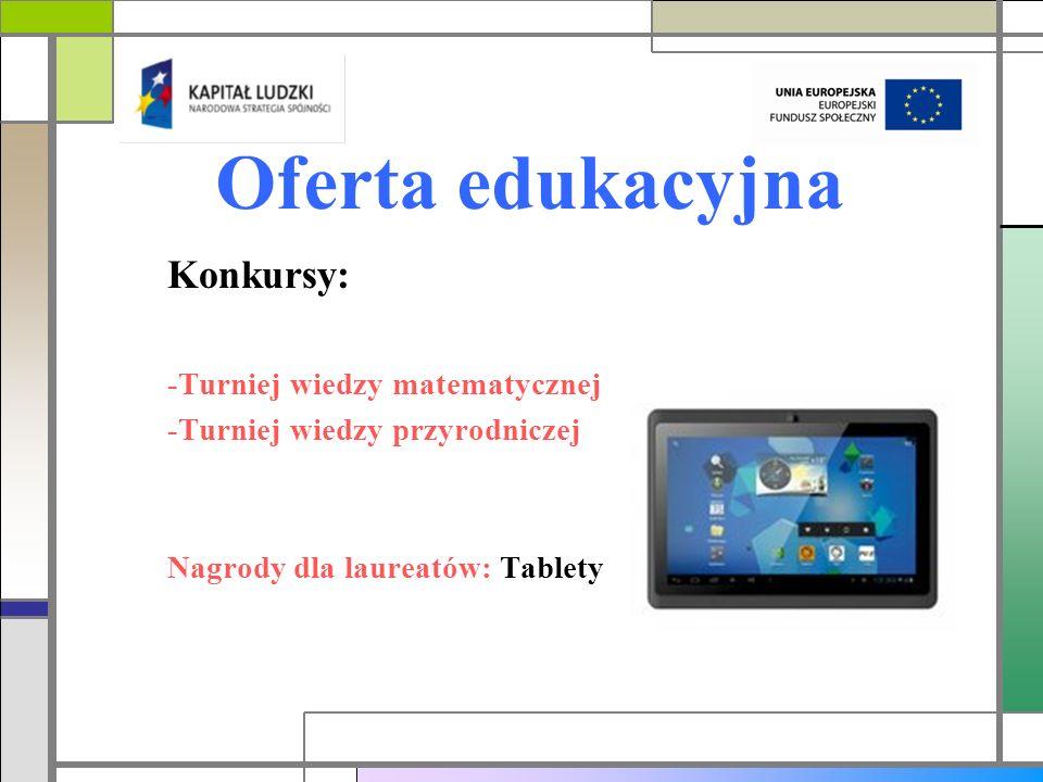 Oferta edukacyjna Konkursy: -Turniej wiedzy matematycznej -Turniej wiedzy przyrodniczej Nagrody dla laureatów: Tablety