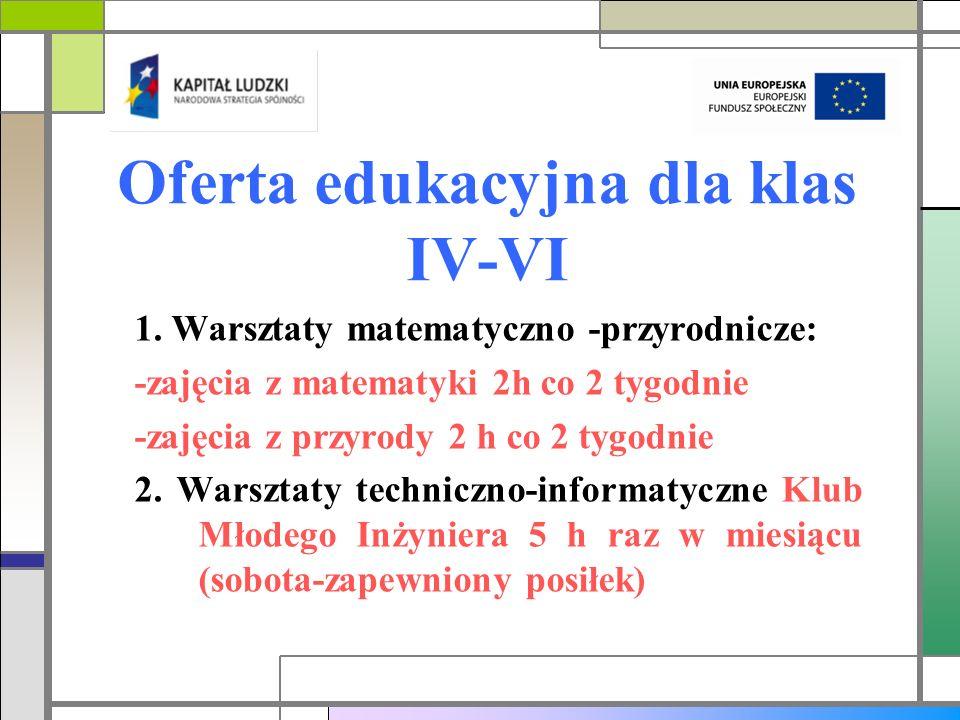 Oferta edukacyjna dla klas IV-VI 1. Warsztaty matematyczno -przyrodnicze: -zajęcia z matematyki 2h co 2 tygodnie -zajęcia z przyrody 2 h co 2 tygodnie