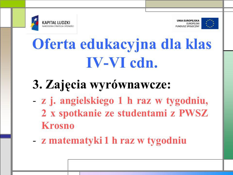 Oferta edukacyjna dla klas IV-VI cdn. 3. Zajęcia wyrównawcze: -z j. angielskiego 1 h raz w tygodniu, 2 x spotkanie ze studentami z PWSZ Krosno -z mate