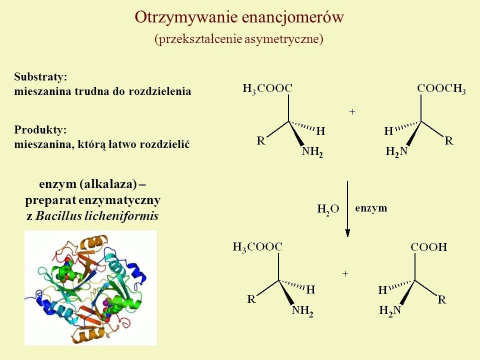 Otrzymywanie enancjomerów (przekształcenie asymetryczne) Substraty: mieszanina trudna do rozdzielenia enzym (alkalaza) – preparat enzymatyczny z Bacil