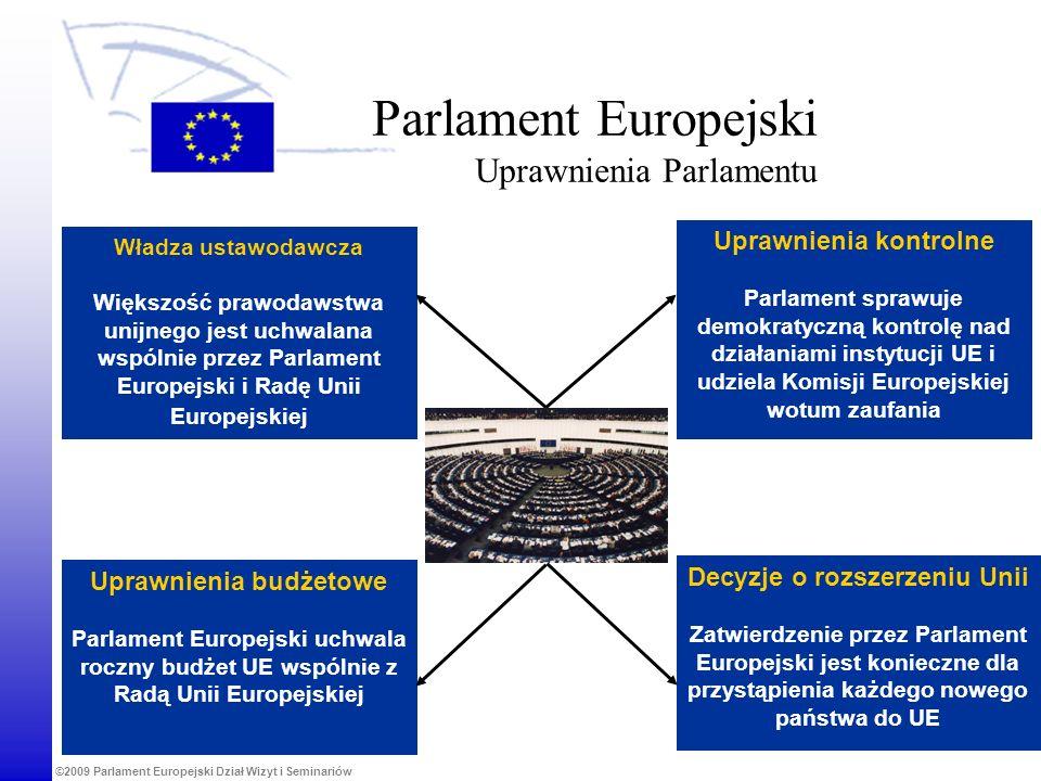 ©2009 Parlament Europejski Dział Wizyt i Seminariów Uprawnienia budżetowe Parlament Europejski uchwala roczny budżet UE wspólnie z Radą Unii Europejsk