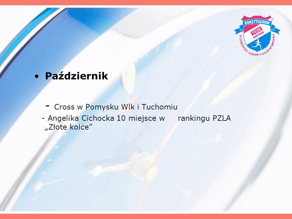 Październik - Cross w Pomysku Wlk i Tuchomiu - Angelika Cichocka 10 miejsce w rankingu PZLA Złote kolce