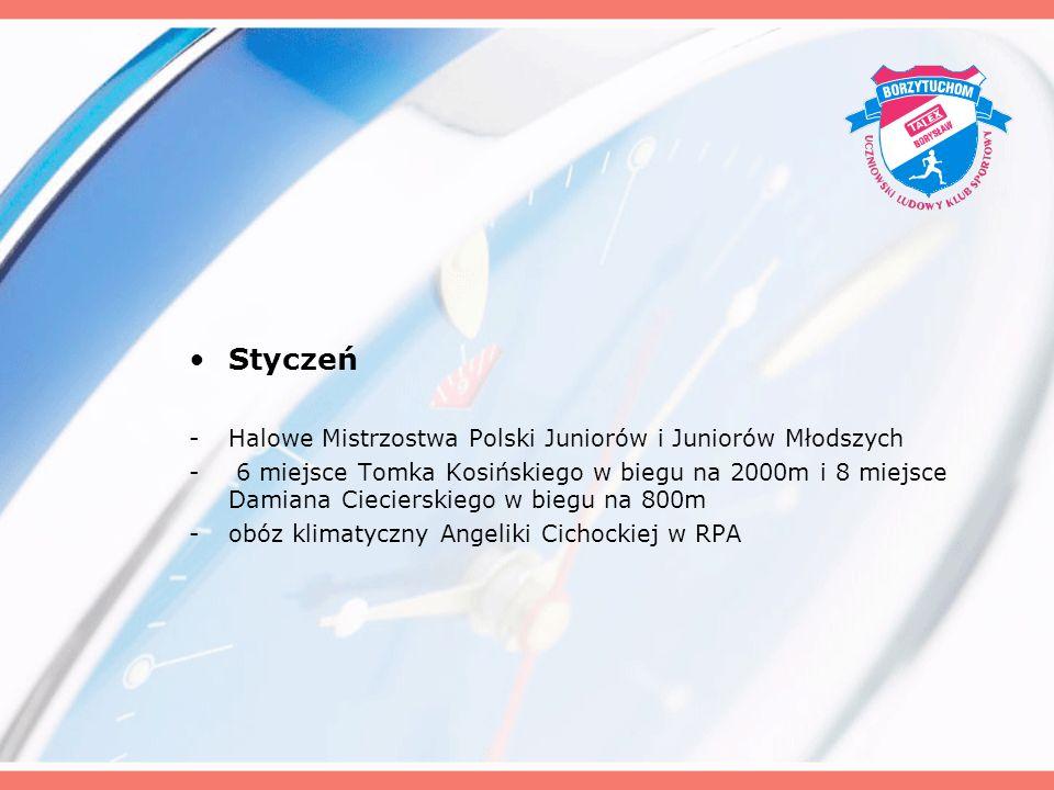Styczeń -Halowe Mistrzostwa Polski Juniorów i Juniorów Młodszych - 6 miejsce Tomka Kosińskiego w biegu na 2000m i 8 miejsce Damiana Ciecierskiego w bi