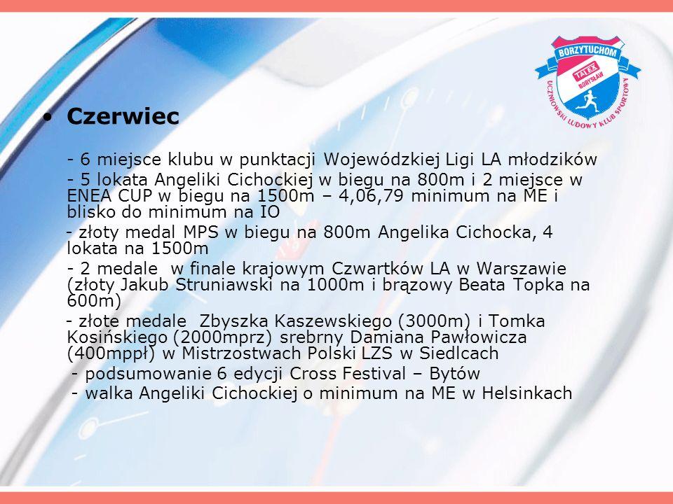 Czerwiec - 6 miejsce klubu w punktacji Wojewódzkiej Ligi LA młodzików - 5 lokata Angeliki Cichockiej w biegu na 800m i 2 miejsce w ENEA CUP w biegu na