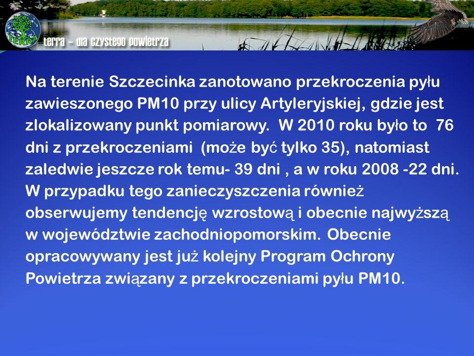 Na terenie Szczecinka zanotowano przekroczenia py ł u zawieszonego PM10 przy ulicy Artyleryjskiej, gdzie jest zlokalizowany punkt pomiarowy. W 2010 ro
