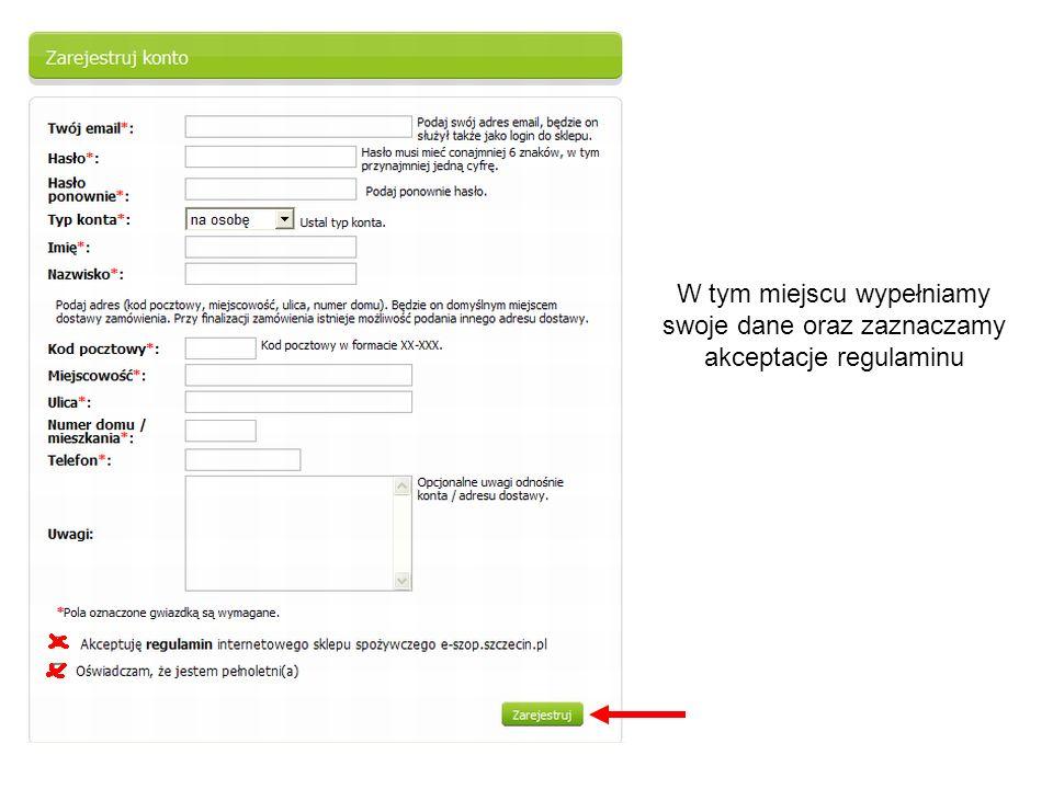 W tym miejscu wypełniamy swoje dane oraz zaznaczamy akceptacje regulaminu