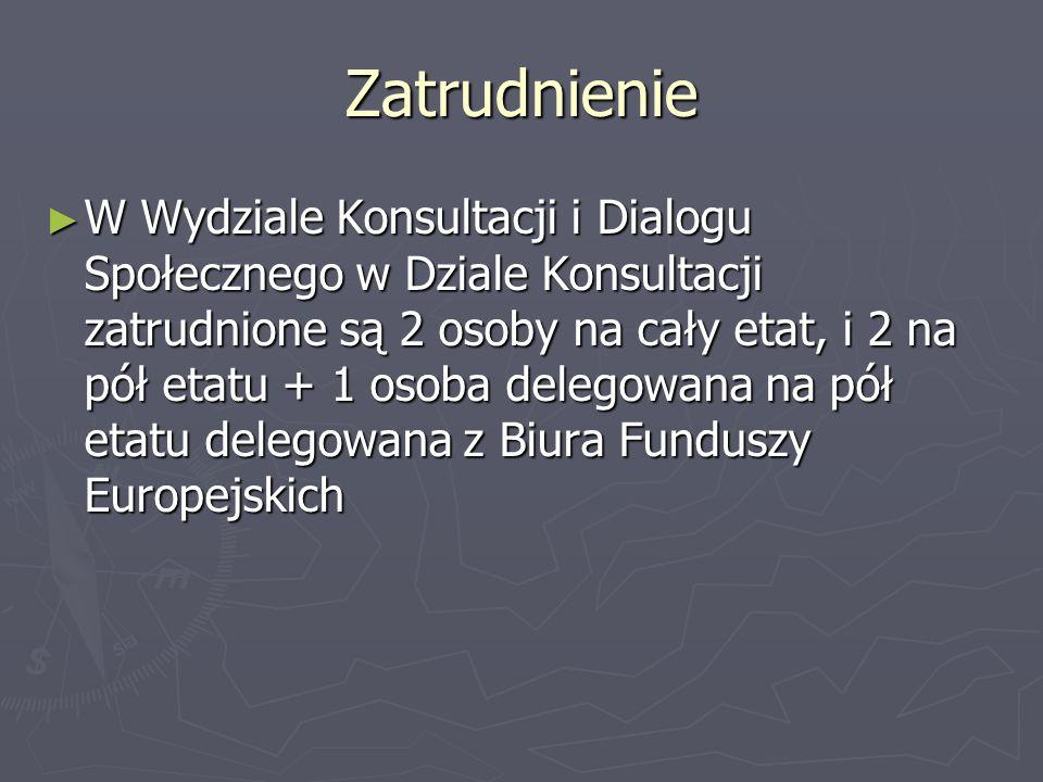Zatrudnienie W Wydziale Konsultacji i Dialogu Społecznego w Dziale Konsultacji zatrudnione są 2 osoby na cały etat, i 2 na pół etatu + 1 osoba delegow