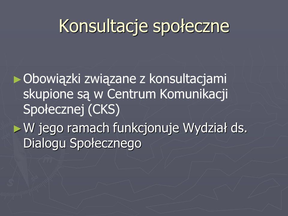 Obowiązki związane z konsultacjami skupione są w Centrum Komunikacji Społecznej (CKS) W jego ramach funkcjonuje Wydział ds. Dialogu Społecznego W jego